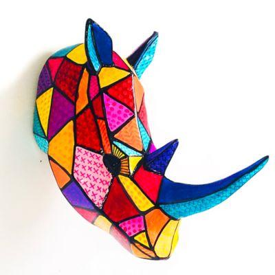 Figura Decorativa Cerámica Cabeza Rinoceronte