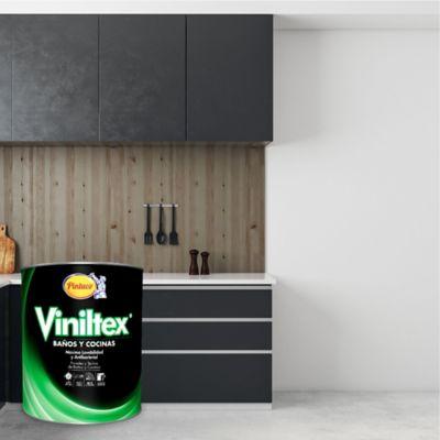 Pintura para Interior Baños y Cocinas 1/4 Galón Blanco Satinado