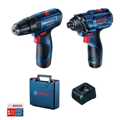 Combo Taladro Percutor 3/8-pulg + Llave de Impacto 1/4-pulg 12V 2.0Ah Bosch