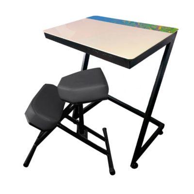 Silla + Mesa Ergo Estudio Infantil 75x80x60 Gris Negra
