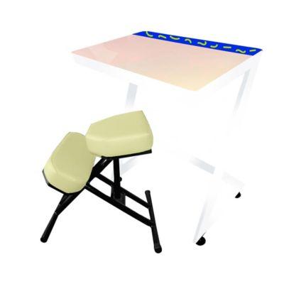 Silla + Mesa Ergo Estudio Infantil 75x80x60 Beige Blanca