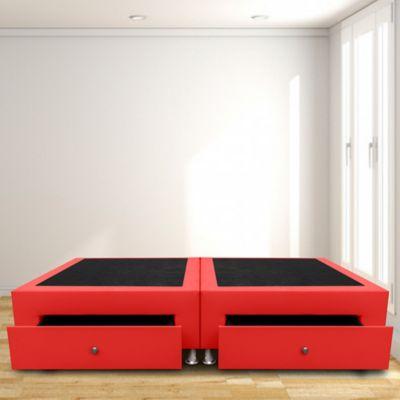 Base Cama Dividida Cajones Doble 140x190 Microfibra Rojo