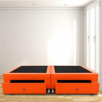 Base Cama Dividida Cajones Doble 140x190 Microfibra Naranja