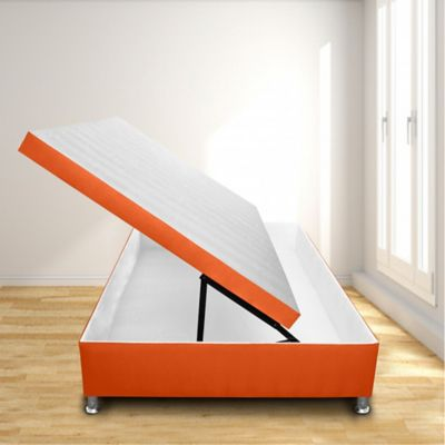Cama Baúl Horizontal Doble 140x190 Microfibra Naranja