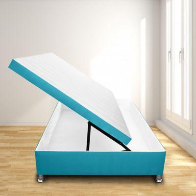 Cama Baúl Horizontal Semidoble 120x190 Microfibra Azul