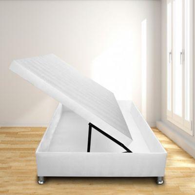 Cama Baúl Horizontal Sencilla 90x190 Microfibra Blanco