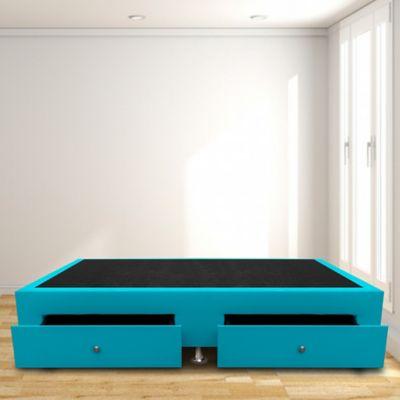Base Cama con Cajones Sencilla 100x190 Ecocuero Azul