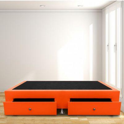 Base Cama con Cajones Sencilla 100x190 Ecocuero Naranja