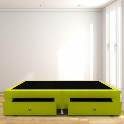 Base Cama con Cajones Sencilla 100x190 Microfibra Verde