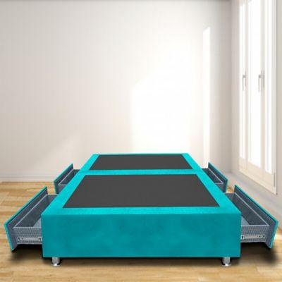 Base Cama Dividida 4 Cajones Semidoble 120x190 Microfibra Azul