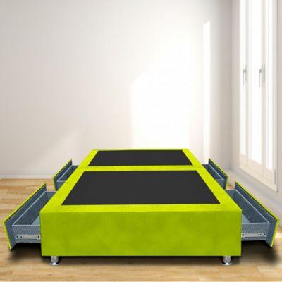 Base Cama Dividida 4 Cajones Sencilla 100x190 Microfibra Verde