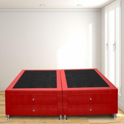 Base Cama Dividida 4 Cajones Doble 140x190 Microfibra Rojo