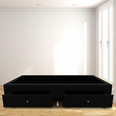 Base Cama con Cajones Sencilla 100x190 Microfibra Negro