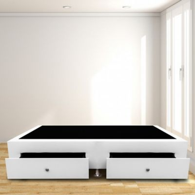 Base Cama con Cajones Sencilla 100x190 Microfibra Blanco