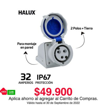 Toma Industrial Pared Exteriores Ip67 3 Polos Halux