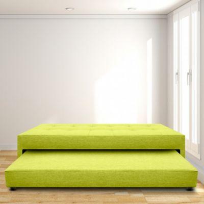 Cama Nido Jafar Sencilla 100x190 Ecocuero Verde