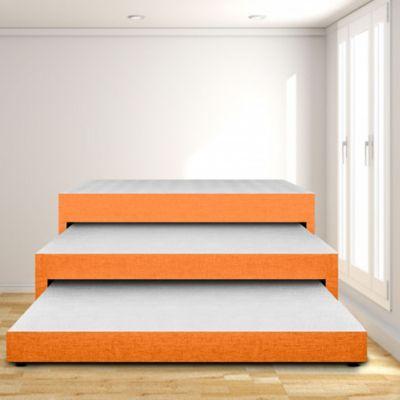 Cama Nido Triplex Sencilla 100x190 Ecocuero Naranja