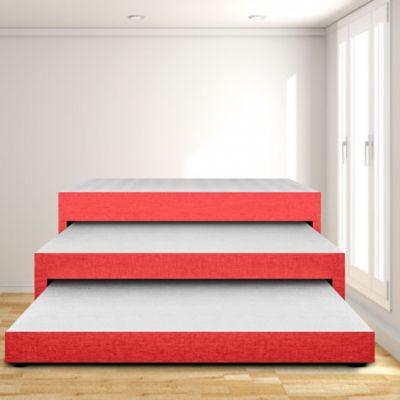 Cama Nido Triplex Sencilla 90x190 Ecocuero Rojo