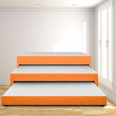 Cama Nido Triplex Sencilla 90x190 Ecocuero Naranja