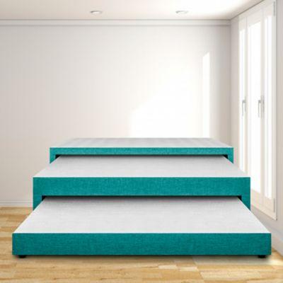 Base Cama Nido 3 Niveles Doble 140x190 Ecocuero Azul