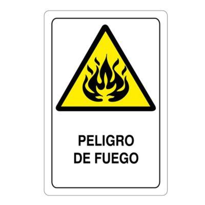 Señal Peligro Fuego 22X15Cm Vinilo Adhesivo