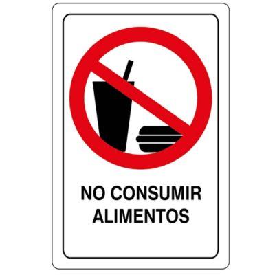 Señal No Consumir Alimentos 22X15Cm Vinilo Adhe