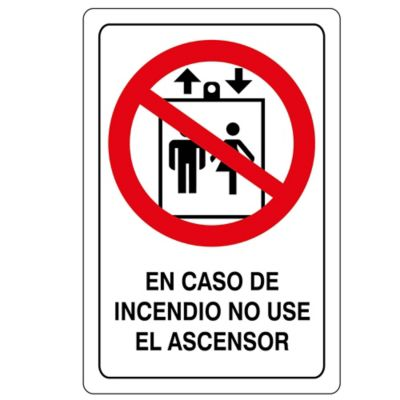 Señal Caso De Incendio No Use Ascensor 22X15