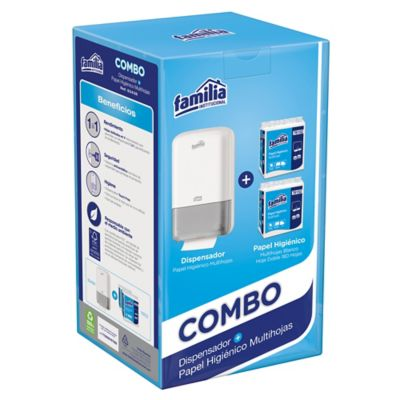 Combo Dispensador Papel Higienico Multihoja + 2 Repuestos
