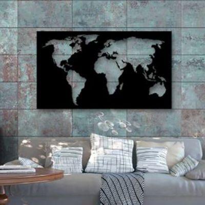Cuadro Aplique Decorativo Mapamundi Calado 60x102cm