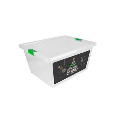 Caja Con Broches Y Ruedas 47x31x62 cm 55 Litros Arbol Navidad