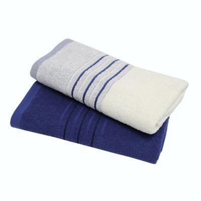Set x2 Toallas Cuerpo 70x140 cm Fesdo 400 gr Crema Azul