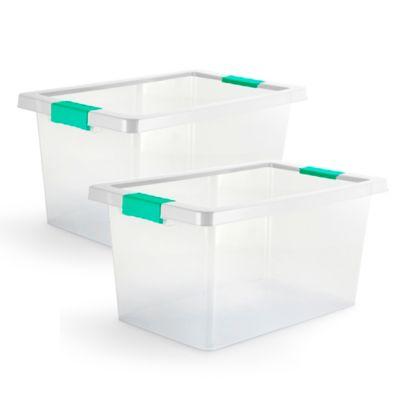 Set x2 Cajas Organizadoras Con Broches 20 Litros Verde