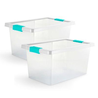 Set x2 Cajas Organizadoras Con Broches 20 Litros Azul
