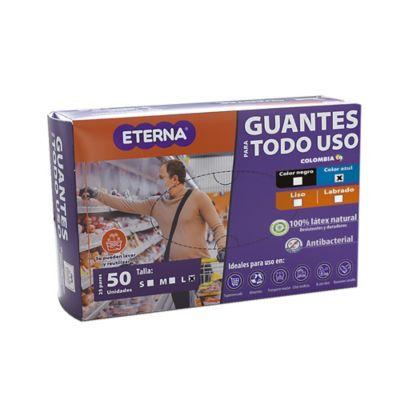 Guante Látex Corto Antibacterial Reutilizable Cal10 Talla L 50 Unidades Azul