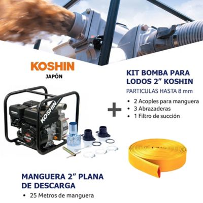 Kit Bomba Agua/Lodo 2Pulg y Manguera Descarga
