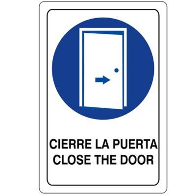 Señal Cierre La Puerta 32.5X22.5Cm Vinilo Adhe