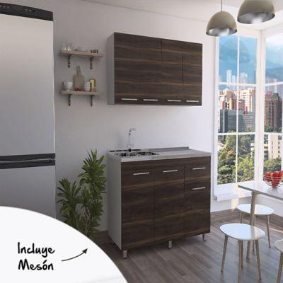 Cocina Integral Bazagli 1.20 Metros Blanco Habano + Modulo Superior + Mudolo inferior