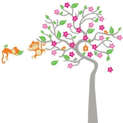 Vinilo Infantil Sleepy Monkeys Flowers Niña 190x180