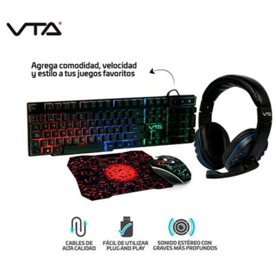 Kit Gamer 4 en 1 Teclado Audifonos. Mouse Y Padmouse