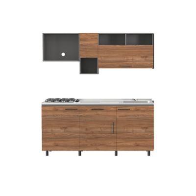 Cocina Integral Praga 92x180cm Der + Mueble Superior + Mueble Inferior + Mesón + 4 Puestos A gas