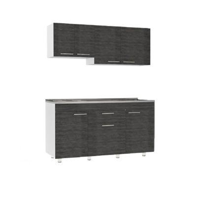 Cocina Integral Oslo 92x1.50cm Derecha Lisa + Mueble Superior + Mueble Inferior + Mesón Liso