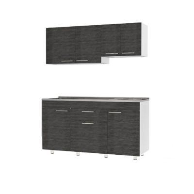 Cocina Integral Oslo 92x1.50cm Izquierda Lisa + Mueble Superior + Mueble Inferior + Mesón liso