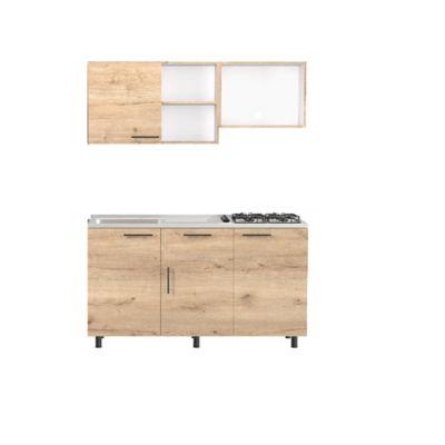Cocina Integral Kalavi 92x150cm Izq + Mueble Superior + Mueble Inferior + Mesón + 4 Puestos A Gas