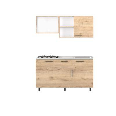 Cocina Integral Kalavi 92x150cm Der + Mueble Superior + Mueble Inferior + Mesón + 4 Puestos A Gas