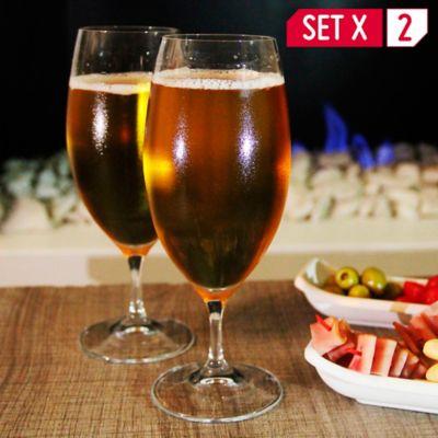 Set De 2 Copas En Cristal Para Cerveza + 1 Copa Obsequio