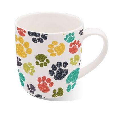 Mug Porcelana 13oz Huellas Colores