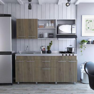 Cocina Integral Frello 1.80 Metros 9 Puertas 1 Cajón Blanco Gales Incluye Mesón Izquierdo