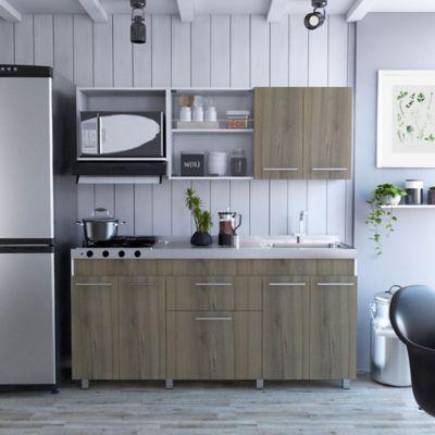 Cocina Integral Frello 1.80 Metros 9 Puertas 1 Cajón Blanco Gales Incluye Mesón Derecho