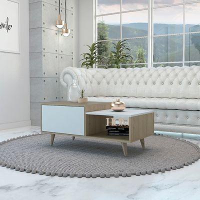 Mesa de Centro Bora Rovere+Blanco 43x100x50cm