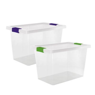 Set x2 Cajas Organizadoras Naturales Con Broches Color 25 Litros